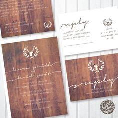 Antler Wood Grain Minimalist Wedding Invitation