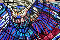 Flying owl in a stained glass panel from the wall of the Cosmovitral, a botanical garden and traveler's oasis in Toluca, Mexico. (Image © Odette Barron Villegas)