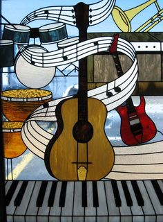 29 Trendy Ideas For Music Arte Ideas Artworks Piano Faux Stained Glass, Stained Glass Designs, Stained Glass Projects, Stained Glass Patterns, Music Painting, Music Artwork, Art Music, L'art Du Vitrail, Piano Art