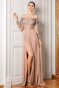 Long Sleeve Prom Dress,Split Prom Dress,Custom Made Evening Dress,Sexy prom dress Split Prom Dresses, Prom Dresses 2016, Prom Dresses Long With Sleeves, Sexy Dresses, Evening Dresses, Formal Dresses, Dress Prom, Long Dresses, Dress Long