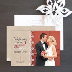 Burlap lace newlywed holiday card