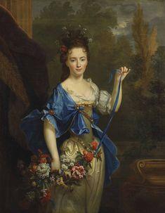 Nicolas de Largillière (French, 1656-1746) - Portrait présumé de Madame de Harlay, tenant une guirlande de fleurs