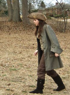 18th Century Pirate Coat and Tricorn hat, great brown. Jack sparrow like costume, 18th
