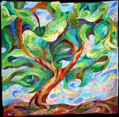 Amazing tree quilt. This is crazy good. Please note: This quilt is 90 x 90. Really! To make this design is amazing, but to make it 90 x 90 is phenomenal.
