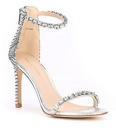 Pelle Moda Frisk2 Jeweled Snake-Print Leather Dress Sandals