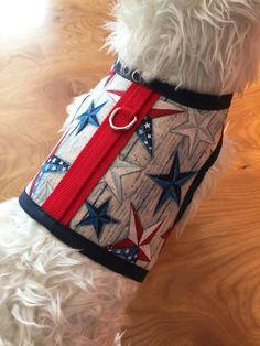 Americana vintage stars Small Dog Harness Made in USA dog