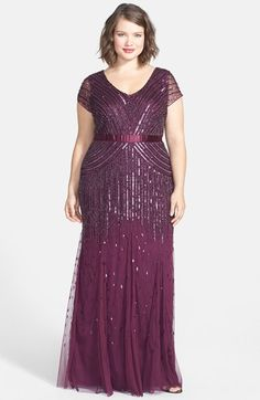 1920s Style Plus Size Dress - Adrianna Papell Embellished Mesh Gown (Plus Size)
