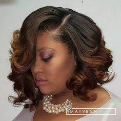 "@Iambriajames wearing three 14"" bundles of Brazilian Loose Wave installed and styled by @Hairbyfaithe. #MayvennHair #MayvennMade #BobLife #CurlyBob #Bob"