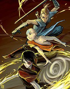 Sokka Aang and Zuko