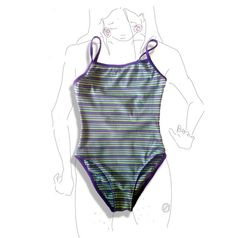 Green, purple, n white striped one piece swimsuit!