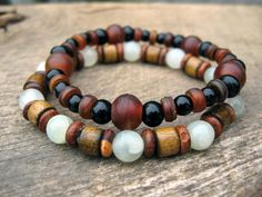 Mens bracelet stacking pair Jade horn wood and by thehappymushroom, £11.00