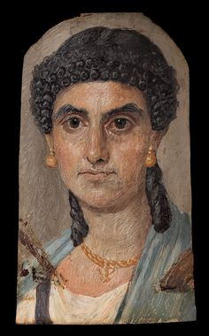 Panel painting of a woman in a blue mantle, Roman period. Reign: Nero, A.D. 54–68 From Egypt
