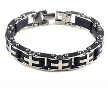 New Fashion Silver Stainless Steel Black Rubber Motorcycle Biker Mens Chain Link Bracelet Bangles Jewelry Ornaments Metal Bracelets, Link Bracelets, Bracelets For Men, Fashion Bracelets, Bangle Bracelets, Fashion Jewelry, Cross Bracelets, Man Bracelet, Gothic Chic