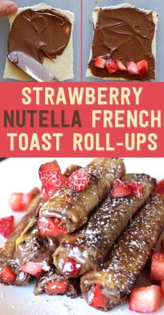Strawberry Nutella French Toast Roll-Ups. Here's The Perfect Breakfast For Anyone Who Loves Nutella. Note: You could also substitute bananas for the strawberries (nutella rolls french toast) French Toast Roll Ups, Nutella French Toast, Chocolate French Toast, Blueberry Chocolate, Baking Chocolate, Chocolate Muffins, Chocolate Cream, Melting Chocolate, Chocolate Covered