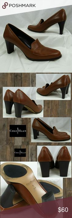 Cole Haan brown loafer pumps heels 8 Wardrobe staple.. with the quality of Cole Haan and timeless style, you will get years of use out of these brown leather loafer pump.  Super comfortable and perfectly practical with an approximately 3.25 inch chunky heel.  Sized as 8 AA.  I find these to be an 8 narrow, not an extra narrow.  Beautiful condition. Worn once. NO TRADES PLEASE! REASONABLE OFFERS WELCOME THROUGH OFFER FEATURE ONLY PLEASE Cole Haan Shoes
