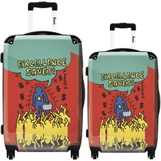 iKase 'Pop Art Keith Haring Multicolor' 2-piece Fashion Harside Spinner Luggage Set