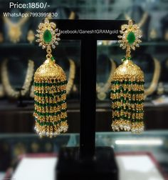 one gram gold jewellery with price. Gold Bangles Design, Gold Earrings Designs, Gold Jewellery Design, Pearl Jewelry, Indian Jewelry, Gold Jewelry, Beaded Jewelry, Diamond Earrings Indian, Gold Designs