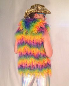 Muppet Shag Rainbow Unicorn Faux Fur Vest // Men & Womens Burning Man Vest // Disco Vest