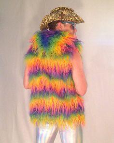 Muppet Shag Rainbow Unicorn Faux Fur Vest // Men & Womens Burning Man Vest // Disco Vest