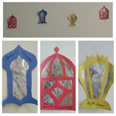 Ramadan decorations-fanoos. My kids drew on waxed lined foil and I made the fanoos, my hubby wrote the arabic. Fold paper in 1/4 lengthwise (In half then half again) like when making a snowflake then you will get 2 symmetrical lanterns) draw in pencil your design and then cut and glue foil on the back. Super easy and looks AMAZING!