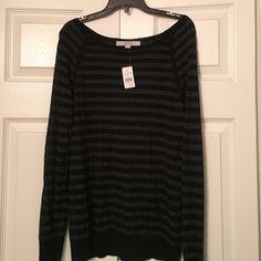 Loft sweater NWT Lightweight black/grey striped sweater LOFT Sweaters Crew & Scoop Necks