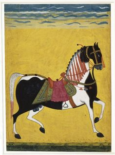 Indian Portrait of a Stallion, mid century. Opaque watercolor, silver, and gold on paper, sheet: 11 x 8 in. Mughal Miniature Paintings, Mughal Paintings, Indian Paintings, Animal Paintings, Motifs Animal, India Art, Equine Art, Orient, Old Art