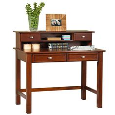 """Home Styles Hanover Student Writing Desk & Hutch Set Overall: 38.75"""" H x 42"""" W x 10.75"""" D Drawer Interior: 2"""" H x 13.75"""" W x 17.5"""" D Desk depth: 24"""" Distance between the floor and the underside of the desk is about 26""""."""