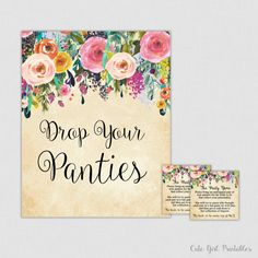 Panty Game - Floral Drop Your Panties - Floral Panties Game - Lingerie Bridal Shower Panty Game Cards - Bachelorette Party Game 0001C