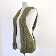 Womens Sweater Cardigan Hooded Vest Hand Knit Sage Green Pastel