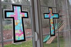 Frills Fluff and Trucks: Stained Glass Cross Craft Tutorial - Easter Craft! Vbs Crafts, Church Crafts, Bible Crafts, Cute Crafts, Preschool Crafts, Easter Crafts, Crafts For Kids, Easter Ideas, Easter Projects