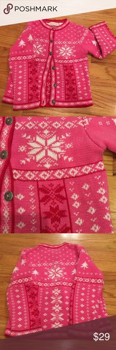 Fair Isle Pink Button Up Pink Cardigan Sweater Welcome winter in this adorable Fair Isle Sweater. 100% Cotton, lovely engraved buttons (including an extra one for  future replacements).  Ships same day if ordered by 10:00 CST from pet-free, smoke-free home. Bundle 3 items and save 15%. Hartstrings Jackets & Coats