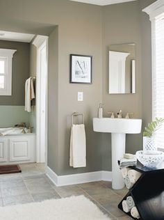 Love the color of this Master Bathroom