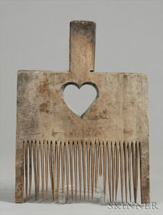 Carved Wooden Textile Comb, 19th c.
