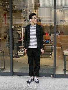 メンズセットアップにボーダーカットソーバスクシャツを合わせたメンズ着こなし Work Fashion, Mens Fashion, Basic Style, Gentleman Style, Cool Outfits, Public, Suits, How To Wear, Clothes
