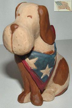 Blossom Bucket Patriotic Flag Dog Sitting 4th of July 103 81989 Figurine apx 3x3 | eBay