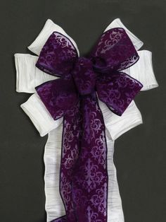 Custom order White Eggplant Deep Purple Damask Bow w/ivory bow for Church Aisles Wedding Decorative Pew Bow by greentraderllc