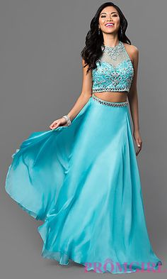 Beaded Illusion Racerback Long Dave and Johnny Dress at PromGirl.com