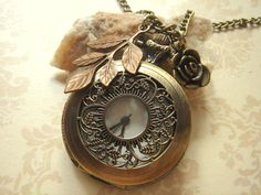 vintage vineyard style pocket watch necklace with charms