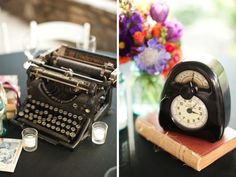 This is how you do a wedding with vintage details: Add an old typewriter and clock to your tablescapes! Southern-Italian Cedarwood Wedding with Eclectic Vintage Styling | Historic Cedarwood