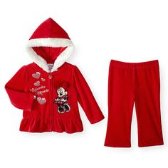 """Disney Baby Girls 2 Piece Red Velour Zip Up Hoodie with Faux Fur Trim, Minnie Mouse Applique and Pull On Pants Set - Babies R Us - Babies """"R"""" Us Cute Princess, Princess Outfits, Disney Baby Clothes, Baby Disney, Kids Outfits Girls, Girl Outfits, Holiday Wear, Future Baby, Dear Future"""