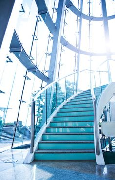 Laminated glass was invented more than 100 years ago by French chemist Édouard Bénédictus, but it's only recently starting to get the popularity it deserves. Laminated Glass, Inventions, How To Find Out, Stairs, Popular, Blog, Stairway, Staircases, Popular Pins