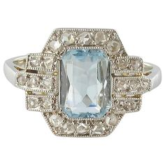 French Art Deco Aquamarine and Diamond Ring | From a unique collection of vintage engagement-rings at https://www.1stdibs.com/jewelry/rings/engagement-rings/