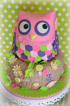 by ellawillow Pink Hoot Owl Cake Owl Cake — Children's Birthday Cakes party Girl Boys Kid Kids