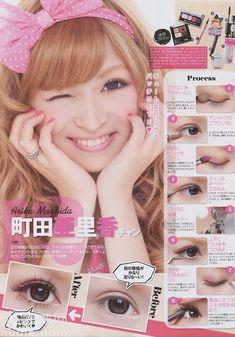 Arika Machida's Eye Make. Vol 3 Gyaru Makeup, Ulzzang Makeup, Kawaii Makeup, My Beauty, Beauty Makeup, Eye Makeup, Hair Makeup, Asian Beauty, Light Eyebrows