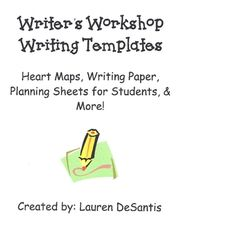 Heart Maps, Planning Sheets, Book Covers, Writing paper and more! Choose from a variety of writing paper for each unit of Writer's Workshop! Small ...