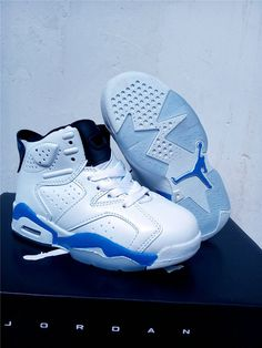 6791bb9fd021 Kids Air Jordan 6 Sport Blue White Jordan Shoes For Kids