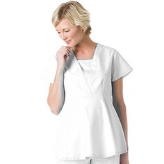 Landau Scrubs move with you all day long. This maternity top features a deep crossover v-neck with center panel snap for easy pull-on. #maternity #scrubs #nurse #doctor #hospitalstyle #medicalstyle