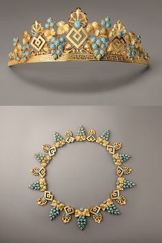 An early tiara and matching necklace featuring turquoise grape clusters with gilt palmettes on a Greek Key base. My kind of tiara! Royal Crowns, Royal Tiaras, Tiaras And Crowns, Royal Jewelry, Gold Jewelry, Jewelery, Fine Jewelry, Jewelry Box, Navajo Jewelry