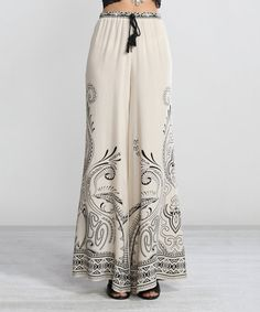 Another great find on #zulily! White & Black Flourish Palazzo Pants by Flying Tomato #zulilyfinds