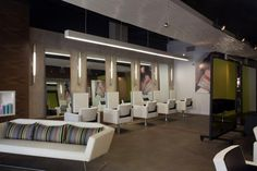 Interesting Hair Salon Design With Modern Minimalist Concept Com Design With White Chair And Mirror Also White Sofa With Grey Striped Pillows Along Brown Tile Floor With Pictures Of Homes Also Salon Design Ideas, Alluring Designs Pictures Of Modern Salons: Interior